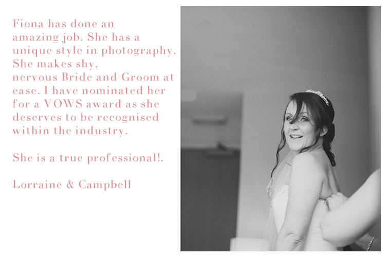 Testimonials, Fiona Reid Photography, Weddings, Ayrshire